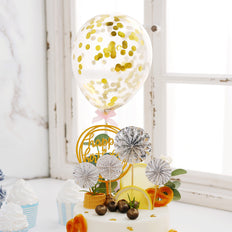 Cake Decor Set, 4 Silver/White Mini Paper Fans, Gold Confetti Balloon and Gold Birthday Cake Topper