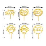 Set of 6 | Mirror Gold Acrylic Happy Birthday Cake Toppers, Cake Decoration Supplies