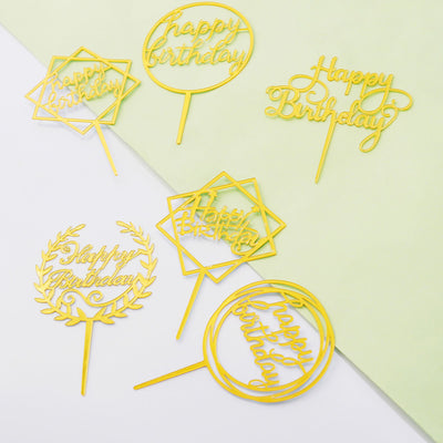 Gold Acrylic Happy Birthday Cake Toppers, Cake Decoration Supplies - 6 Assorted Styles