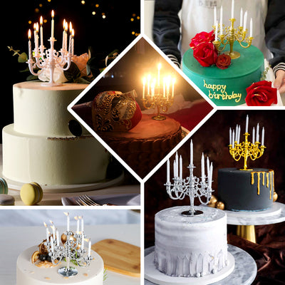 5 inch Tall 9 Arm White Candelabra Cake Topper With 9 Birthday Candles