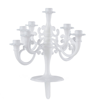 5 inch Tall 9 Arm White Candelabra Cake Topper With 9 Birthday Candles#whtbkgd#whtbkgd