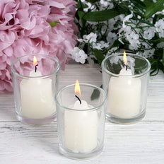 12 Pack Ivory Votive Candles with Clear Holders
