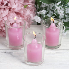 12 Lavender Votive Candles with Clear Holders