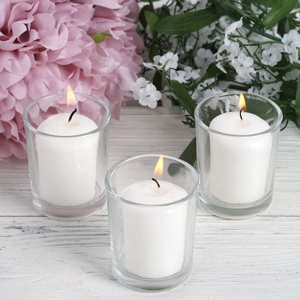 12 Pack White Votive Candles with Clear Votive Holder Set