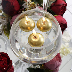 "12 Pack | 1.5"" Gold Mini Disc Dripless Floating Candles"
