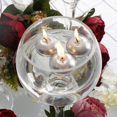 "12 Pack | 1.5"" Silver Mini Disc Dripless Floating Candles"