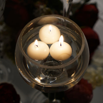 "12 Pack | 1.5"" White Mini Disc Dripless Floating Candles"