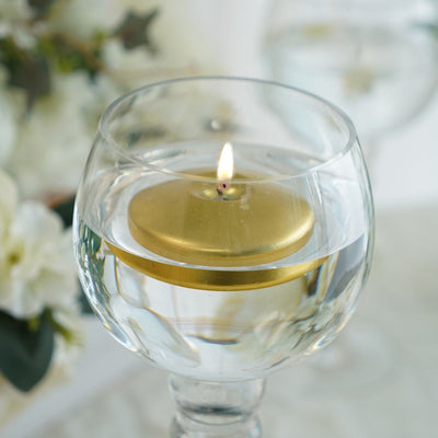 "4 Pack | 3"" Gold Disc Unscented Floating Candles 