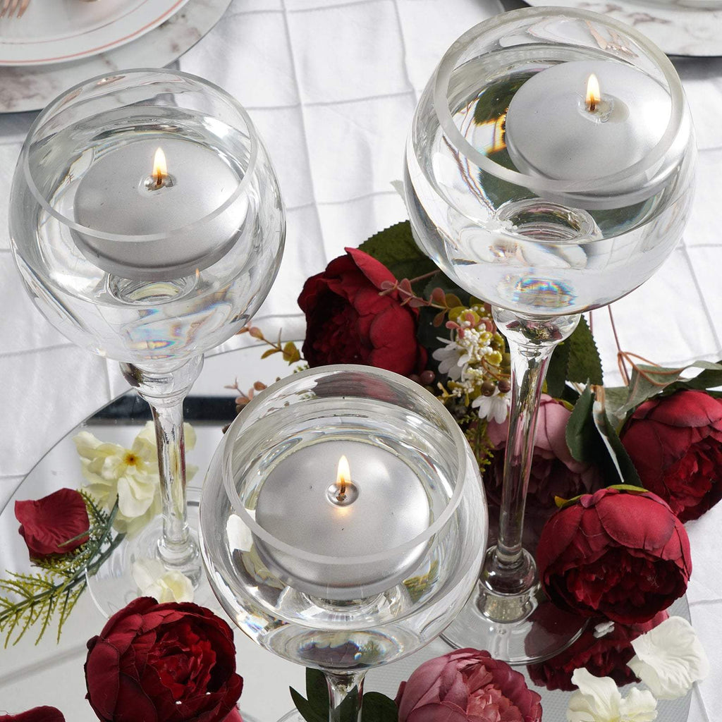 3 Silver Disc Unscented Floating Candles Candle Centerpieces Tableclothsfactory
