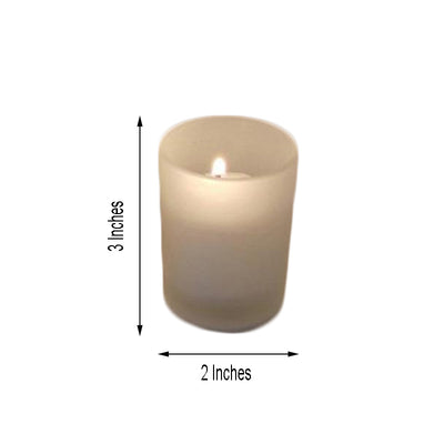 12 Pack White Votive Candles with Frosted Votive Holder Set
