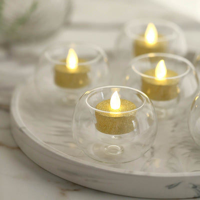 6 Pack | 2.5'' Crystal Clear Glass Globe Votive Candle Holder Set