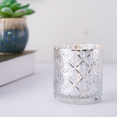 6 Pack | Antique Silver Mercury Glass Candle Holders, Votive Tealight Holders With Geometric Design