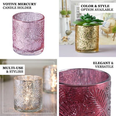 6 Pack | Burgundy Mercury Glass Candle Holders, Votive Tealight Holders With Palm Leaf Design