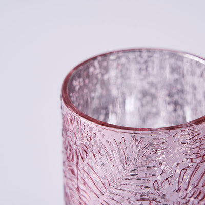 6 Pack | Rose Gold Mercury Glass Candle Holders, Votive Tealight Holders With Palm Leaf Design