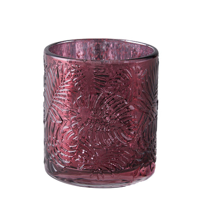 6 Pack | Burgundy Mercury Glass Candle Holders, Votive Tealight Holders With Palm Leaf Design #whtbkgd