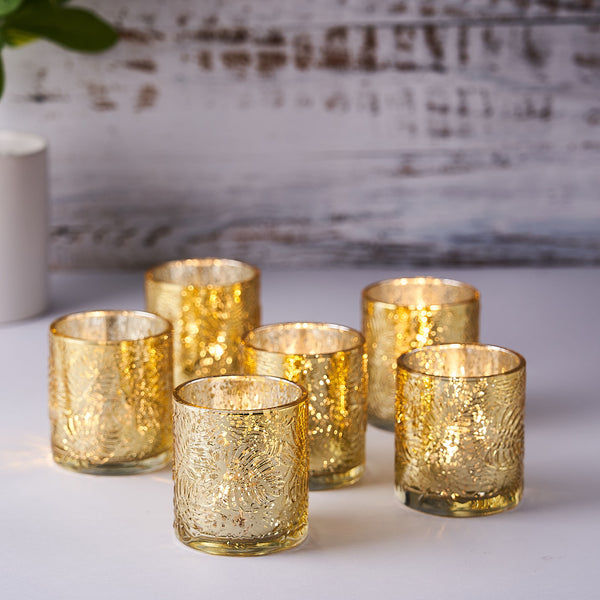 6 Pack | Gold Mercury Glass Candle Holders, Votive Tealight Holders With Palm Leaf Design