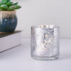 6 Pack | Silver Mercury Glass Candle Holders, Votive Tealight Holders With Palm Leaf Design