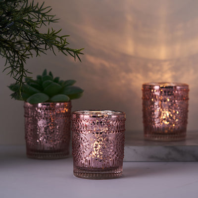 6 Pack | Rose Gold Mercury Glass Candle Holders, Votive Tealight Holders With Primrose Design
