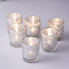 6 Pack | Silver Mercury Glass Candle Holders, Votive Tealight Holders With Primrose Design