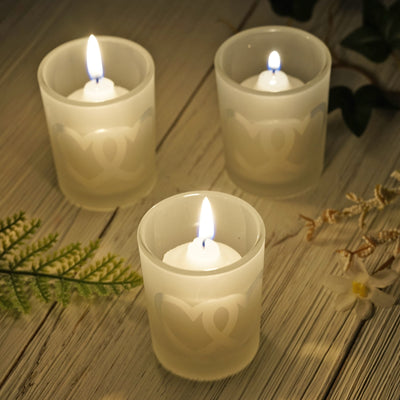 12 Pack Frosted Heart Votive Candle Holders