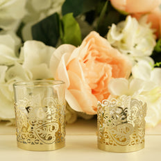 20 Pcs - Gold Floral Lace Candle Decorative Wraps - Votive and Tea Light Holder Foil Paper Wraps