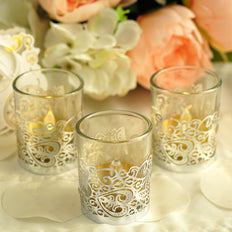 20 Pcs - Silver Floral Lace Candle Decorative Wraps - Votive and Tea Light Holder Foil Paper Wraps