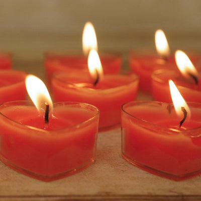 Heart Tealight Candles - 12/pk - Red