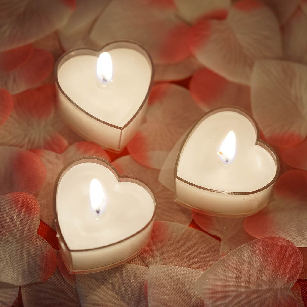 12 Pack White Heart Shaped Tea Light Candles Tableclothsfactory