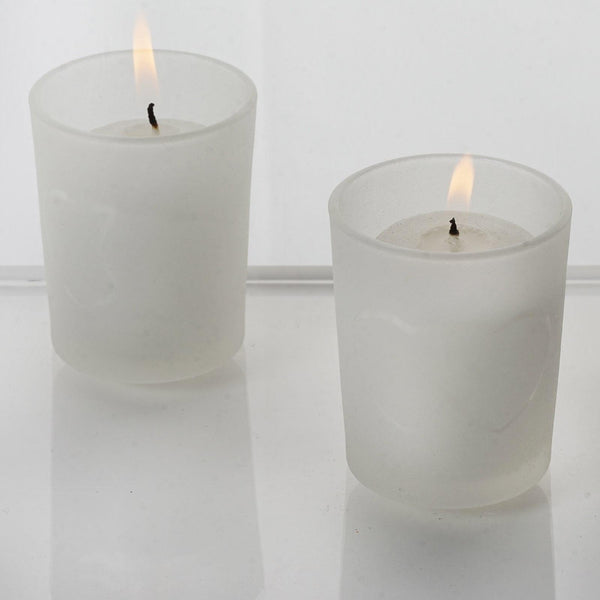 12 Pack White Votive Candles With Frosted Heart Votive Holder Set