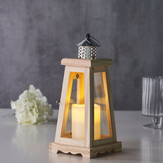 14inch Rustic Wood Lantern Centerpiece, Outdoor Candle Lantern with Metal Top and Glass Panels