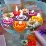 4 Pack Turquoise Rose Flower Floating Candles