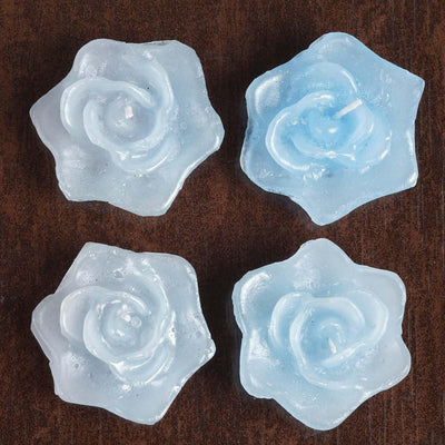 Blue Rose Floating Candles Wedding Birthday Party Centerpiece Decor - 4/pk