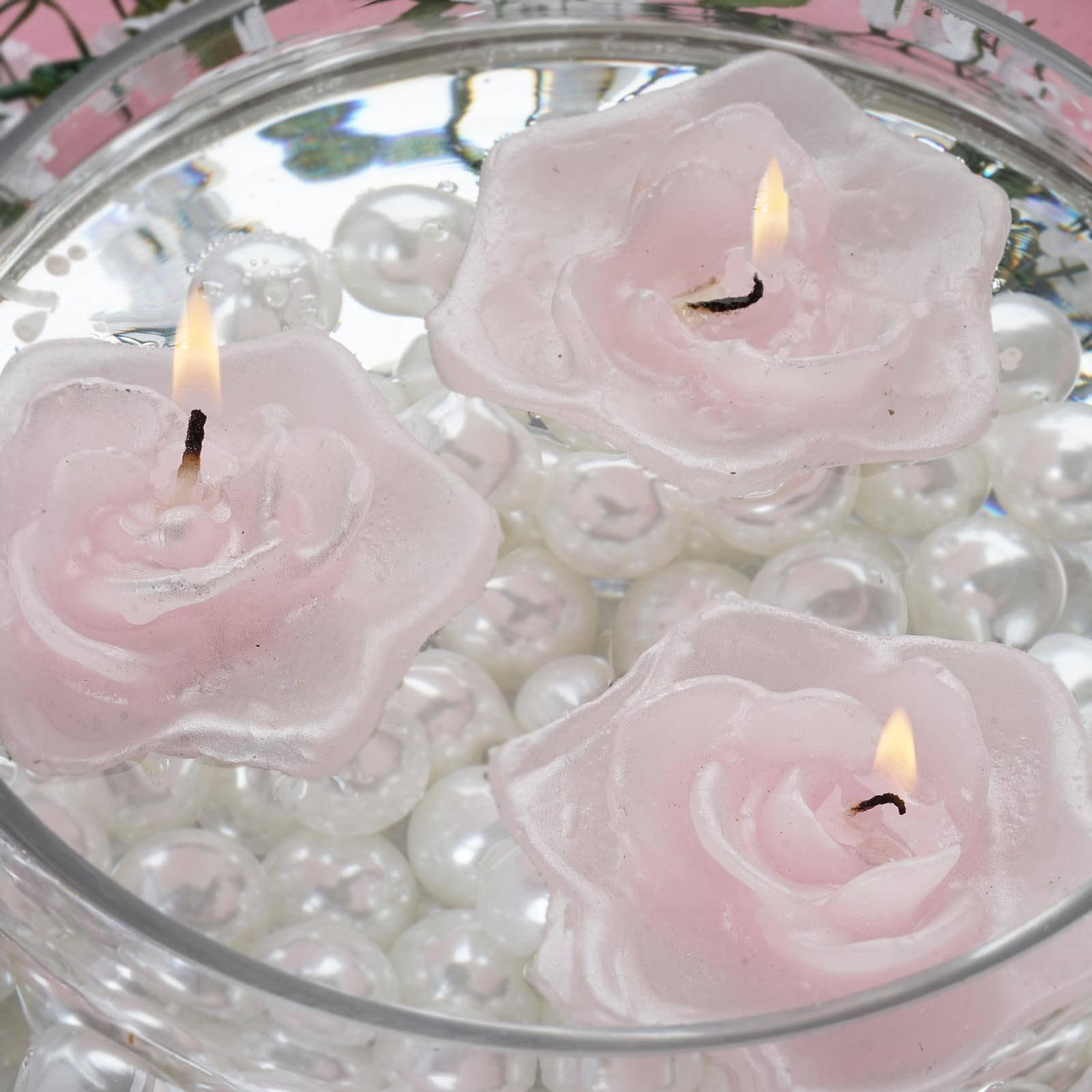4 Pack Pink Rose Flower Floating Decorative Candles | Tablecloths ...