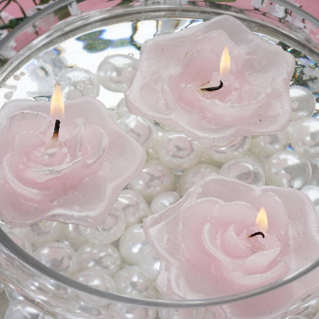 4 Pack Pink Rose Flower Floating Candles Tableclothsfactory