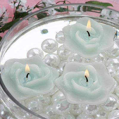 4 PCS Wholesale TURQUOISE Rose Flower Floting Candles For Wedding Party Table Top Centerpiece Decoration