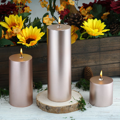 "3"" Rose Gold Dripless Unscented Pillar Candle 