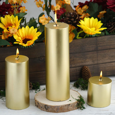 "3"" Gold Dripless Unscented Pillar Candle 