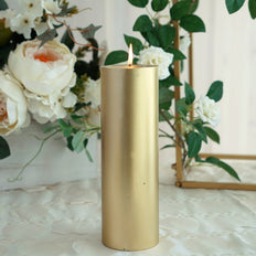 "9"" Gold Dripless Unscented Pillar Candle 
