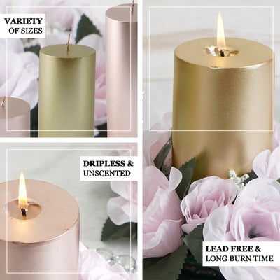 "9"" Rose Gold Dripless Unscented Pillar Candle 