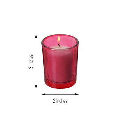 12 Pack White Votive Candles with Red Votive Holder Set