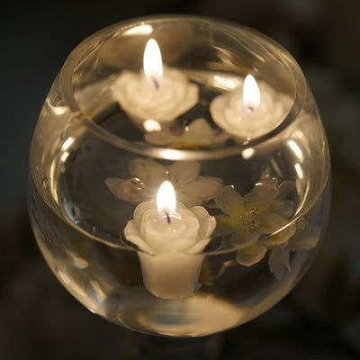 "12 Pack | 1"" Gold Mini Rose Flower Floating Candles"