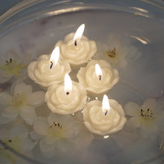 "12 Pack | 1"" Ivory Mini Rose Flower Floating Candles"