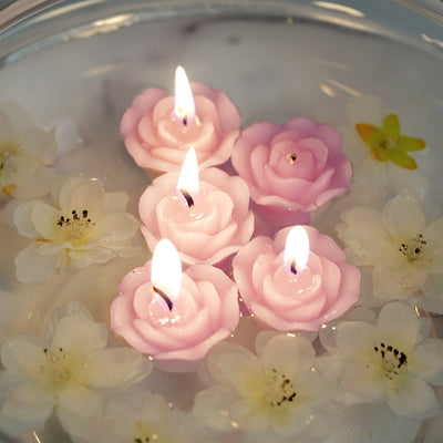 "12 Pack | 1"" Lavender Mini Rose Flower Floating Candles"