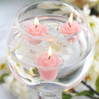 Mini Floating Rose Candle Pink-12/pk