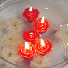"12 Pack | 1"" Red Mini Rose Flower Floating Candles"