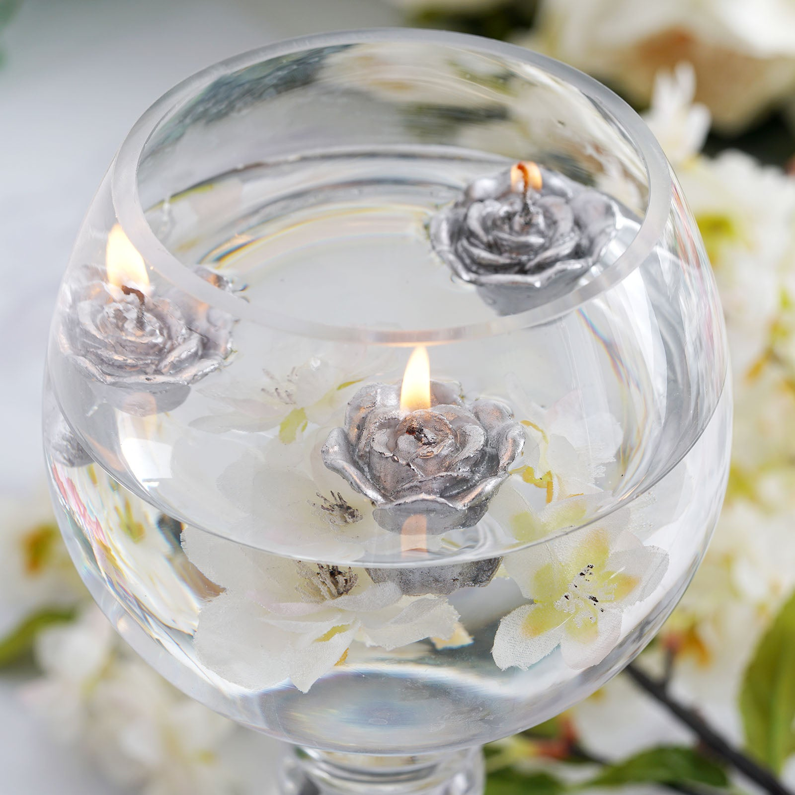 Mini Floating Rose Candle 12/pk - Silver | Tablecloths Factory ...
