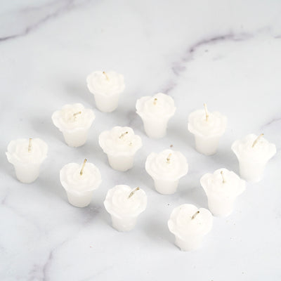 "12 Pack | 1"" White Mini Rose Flower Floating Candles"