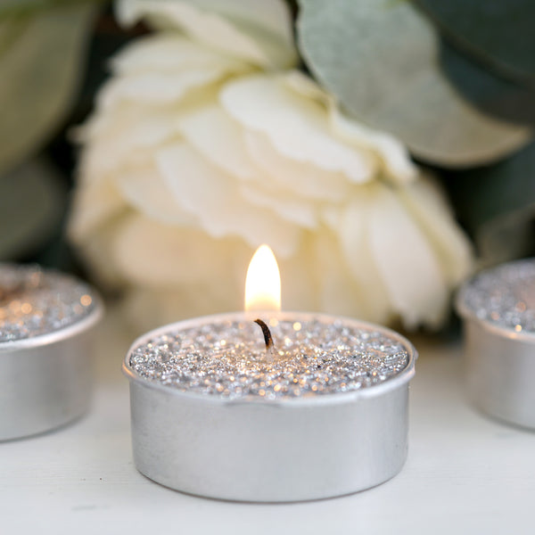 Set of 9 | Metallic Silver Tea light Candles | Textured Design Dripless Candles