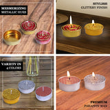 Set of 9 | Metallic Gold Tea light Candles | Textured Design Dripless Candles