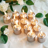 "12 Pack | 1.5"" Rose Gold Dripless Unscented Votive Candles 